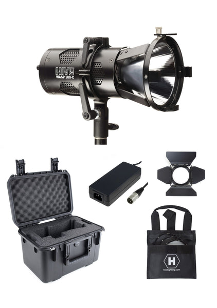 Hive Lighting Wasp 100-C LED Spot 1 Light Kit with Lens Set & Case (Custom Foam) HIVE-WLS1C-1LKIT