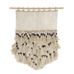 Jute Macrame Wall Hanging - Natural and Indigo with Tassels - MINT Interior Design