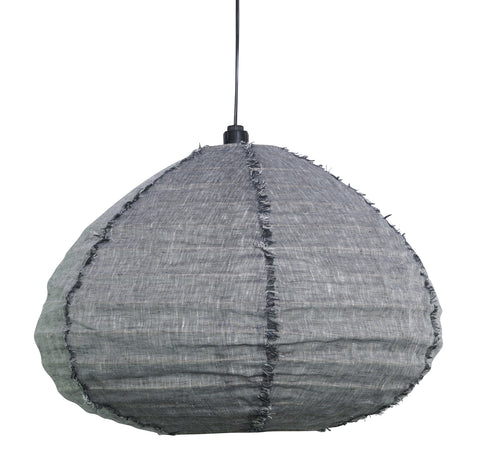 Linen Pendant Light - Charcoal Medium