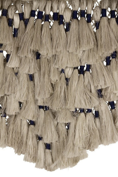 Jute Macrame Wall Hanging - Natural and Indigo with Tassels