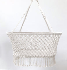 Macrame Hanging Bassinet - White