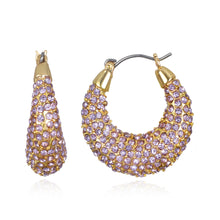Load image into Gallery viewer, Lilac Pave Hoop Earring