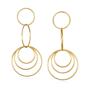 Golden Circle Statement Drop Earrings