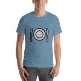 Emoji T-Shirt Store | Fork And Knife With Plate emoji t-shirt in Blue