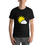 Emoji T-Shirt Store | Sun Behind Small Cloud emoji t-shirt in Black