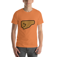 Emoji T-Shirt Store | Left Facing Fist, Medium Dark Skin Tone emoji t-shirt in Orange