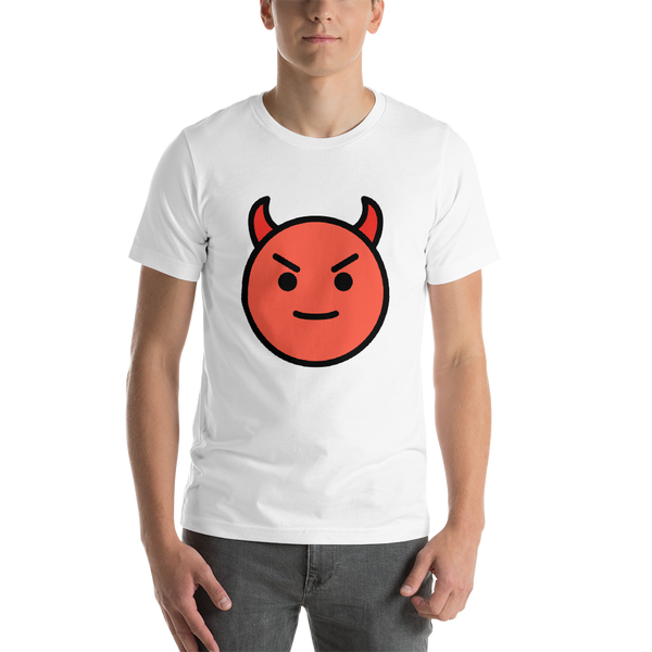 Emoji T-Shirt Store | Smiling Face With Horns emoji t-shirt in White