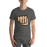 Emoji T-Shirt Store | Oncoming Fist, Medium Light Skin Tone emoji t-shirt in Dark gray