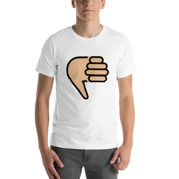 Emoji T-Shirt Store | Thumbs Down, Medium Light Skin Tone emoji t-shirt in White