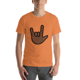 Emoji T-Shirt Store | Love You Gesture, Dark Skin Tone emoji t-shirt in Orange