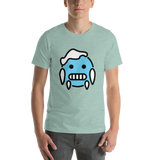 Emoji T-Shirt Store | Cold Face emoji t-shirt in Green