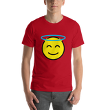 Emoji T-Shirt Store | Smiling Face With Halo emoji t-shirt in Red