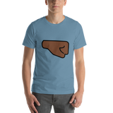 Emoji T-Shirt Store | Right Facing Fist, Dark Skin Tone emoji t-shirt in Blue