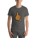 Emoji T-Shirt Store | Call Me Hand, Medium Dark Skin Tone emoji t-shirt in Dark gray