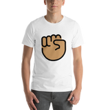 Emoji T-Shirt Store | Raised Fist, Medium Skin Tone emoji t-shirt in White