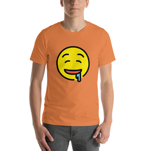 Emoji T-Shirt Store | Drooling Face emoji t-shirt in Orange
