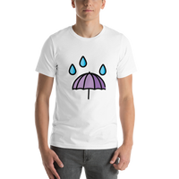 Emoji T-Shirt Store | Umbrella With Rain Drops emoji t-shirt in White