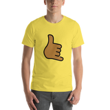 Emoji T-Shirt Store | Call Me Hand, Medium Dark Skin Tone emoji t-shirt in Yellow