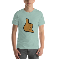Emoji T-Shirt Store | Call Me Hand, Medium Dark Skin Tone emoji t-shirt in Green