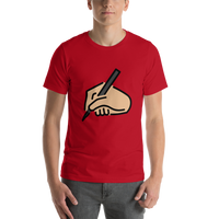 Emoji T-Shirt Store | Writing Hand, Medium Light Skin Tone emoji t-shirt in Red