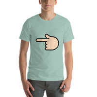 Emoji T-Shirt Store | Backhand Index Pointing Left, Light Skin Tone emoji t-shirt in Green