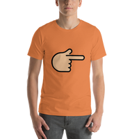Emoji T-Shirt Store | Backhand Index Pointing Right, Medium Light Skin Tone emoji t-shirt in Orange