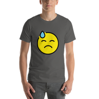 Emoji T-Shirt Store | Downcast Face With Sweat emoji t-shirt in Dark gray