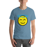 Emoji T-Shirt Store | Smiling Face With Halo emoji t-shirt in Blue