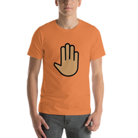 Emoji T-Shirt Store | Raised Back Of Hand, Medium Skin Tone emoji t-shirt in Orange