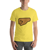 Emoji T-Shirt Store | Left Facing Fist, Medium Dark Skin Tone emoji t-shirt in Yellow