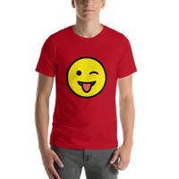 Emoji T-Shirt Store | Winking Face With Tongue emoji t-shirt in Red