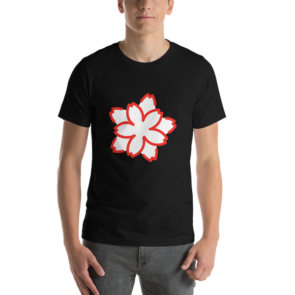 Emoji T-Shirt Store | White Flower emoji t-shirt in Black