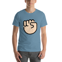 Emoji T-Shirt Store | Raised Fist, Light Skin Tone emoji t-shirt in Blue