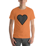 Emoji T-Shirt Store | Black Heart emoji t-shirt in Orange