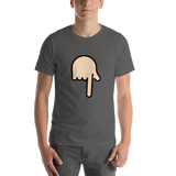 Emoji T-Shirt Store | Backhand Index Pointing Down, Light Skin Tone emoji t-shirt in Dark gray