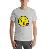 Emoji T-Shirt Store | Face Blowing A Kiss emoji t-shirt in Light gray