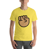 Emoji T-Shirt Store | Raised Fist, Medium Skin Tone emoji t-shirt in Yellow