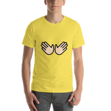 Emoji T-Shirt Store | Open Hands, Light Skin Tone emoji t-shirt in Yellow
