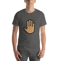 Emoji T-Shirt Store | Raised Back Of Hand, Medium Skin Tone emoji t-shirt in Dark gray