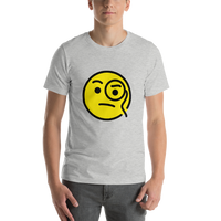 Emoji T-Shirt Store | Face With Monocle emoji t-shirt in Light gray