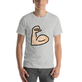 Emoji T-Shirt Store | Flexed Biceps, Light Skin Tone emoji t-shirt in Light gray