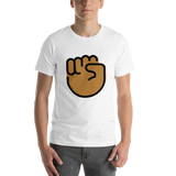 Emoji T-Shirt Store | Raised Fist, Medium Dark Skin Tone emoji t-shirt in White