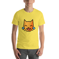 Emoji T-Shirt Store | Cat With Tears Of Joy emoji t-shirt in Yellow