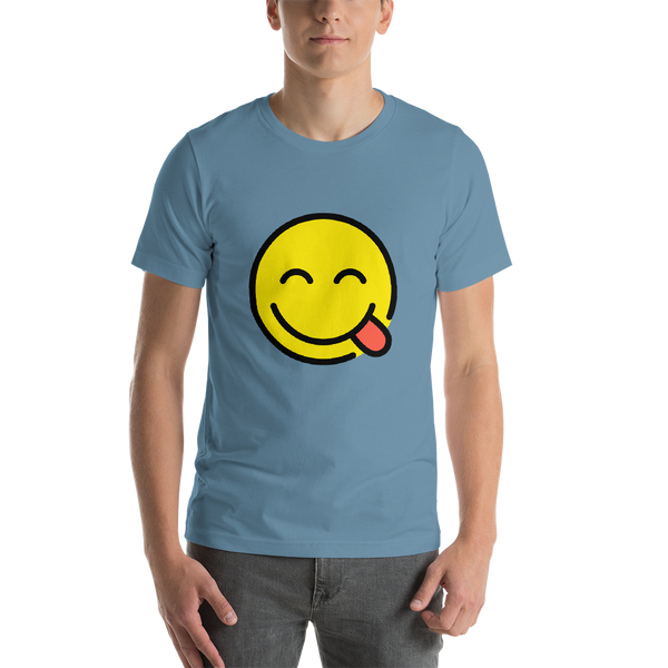 Emoji T-Shirt Store | Face Savoring Food emoji t-shirt in Blue