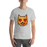 Emoji T-Shirt Store | Smiling Cat With Heart-Eyes emoji t-shirt in Light gray