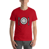 Emoji T-Shirt Store | Fork And Knife With Plate emoji t-shirt in Red