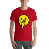 Emoji T-Shirt Store | Face With Hand Over Mouth emoji t-shirt in Red