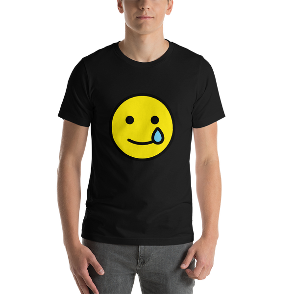 Emoji T-Shirt Store | Smiling Face With Tear emoji t-shirt in Black