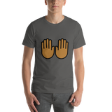 Emoji T-Shirt Store | Raising Hands, Medium Dark Skin Tone emoji t-shirt in Dark gray