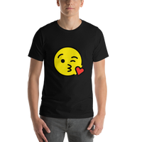 Emoji T-Shirt Store | Face Blowing A Kiss emoji t-shirt in Black